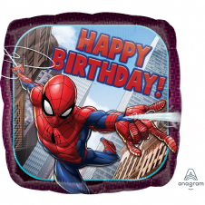 Spiderman Square Happy Birthday Foil Helium Balloon
